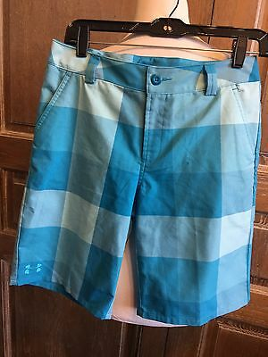Under Armour boys blue plaid golf shorts size Youth Large
