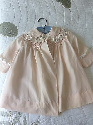 Vintage Baby Dress Coat w/ Smocking and Lace