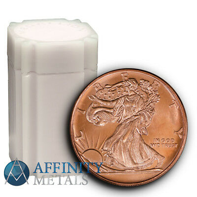 Roll of 20 Coins- Walking Liberty .999 Pure Copper Bullion Rounds In Mint Tube