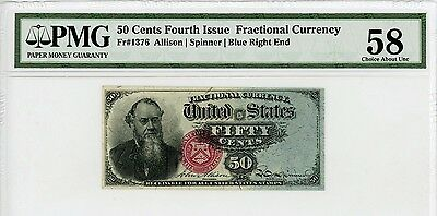 4th Issue Fr.1376 50c United States Fractional Currency Note - PMG Ch.AU 58