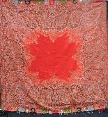 "Fine Vibrant Antique Fine Wool Paisley Shawl   ( 69"" x  69"" )"