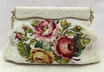 Vintage Floral Tapestry & Beaded Clutch Handbag with Beaded Handle