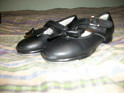 Capezio Tap Shoes Little Girls Size 11M Black Leather Tele-Tone Taps