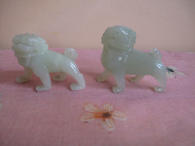 Chinese Natural Carved Jade Two Figures Of Foo Dogs