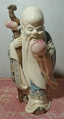 Carved Netsuke Resin Figure Japanese Chinese Oriental Asian Old Bearded Man Staf