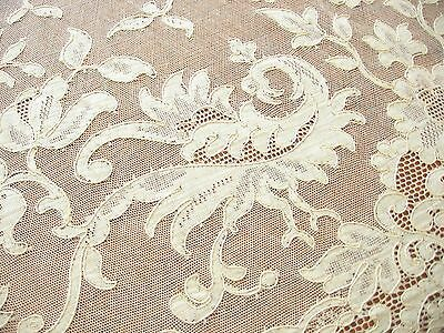 BIRDS of PARADISE Antique ALENCON LACE Tablecloth 12 Napkin FRANCE 68x106 Unused
