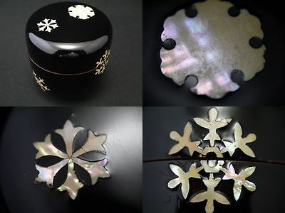 Japan Lacquer Wooden Tea Caddy SNOW CRYSTAL Mother-of-pearl work Natsume (517)
