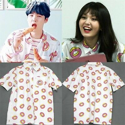 KPOP BTS Suga Donut T-shirt Bangtan Boys Blouse Somi Short Sleeve Cotton Shirt