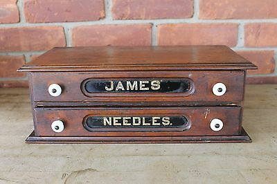 """Antique sewing SPOOL CABINET  """" JAMES NEEDLES """" wood w-glass advertising"""