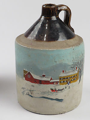 Antique Hand Painted Stoneware Jug Crock Pottery Sleigh Farm Red Barn Folk Art