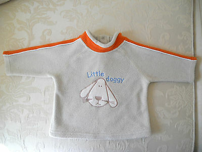 Baby boys fleece jumper top long sleeves warm Size 00 cream /beige orange puppy
