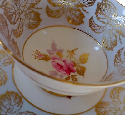 ROYAL GRAFTON ENGLAND TEA CUP AND SAUCER PALE BLUE & GOLD PINK ROSE. Excellent