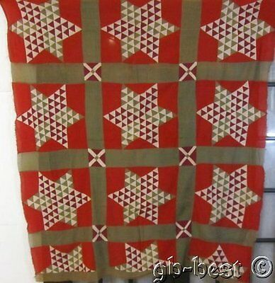 Graphic c 1880s Star Antique QUILT Top Tiny pieces RED Green