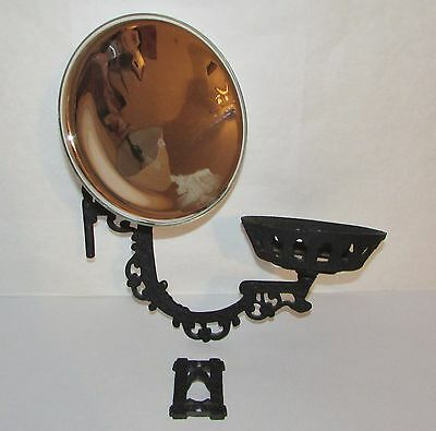 Antique Cast Iron Victorian Hardware Lamp Bracket, Arm, Mercury Glass Reflector