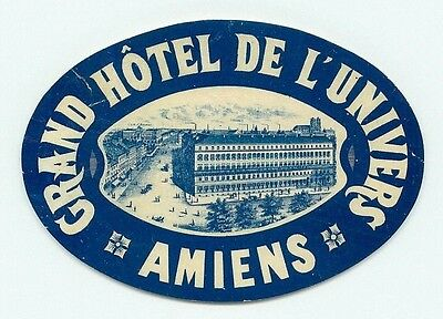 Amiens France Grand Hotel De L'univers Old Luggage Label
