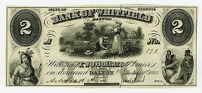 1860 $2 The Bank of Whitfield in Dalton, GEORGIA Note AU
