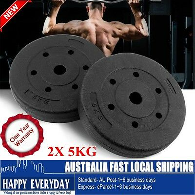 2X 5KG Weight Plates Barbell Dumbbell Plate Gym Weights Set Fitness Exercise TT