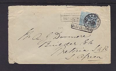 1899 BOER WAR 2½d on 9d SF cover HOBART TASMANIA to PRETORIA SOUTH AFRICA