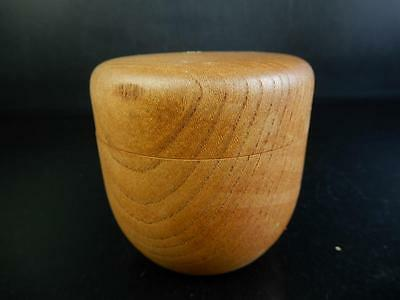 F8950: Japanese Wooden Mulberry tree TEA CADDY Natsume Chaire Container