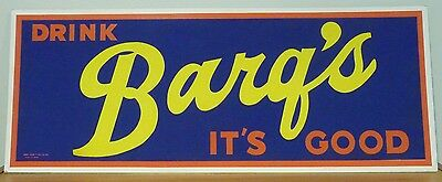 Original 1950's Barq's Root Beer Sign Soda Pop, Bus/Trolley Cardboard NEAR MINT