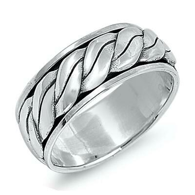 Men's Wedding Ring Classic Celtic Rope New .925 Sterling Silver Band Sizes 7-13