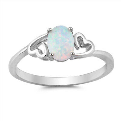 Oval White Lab Opal Heart Promise Ring New .925 Sterling Silver Band Sizes 4-12