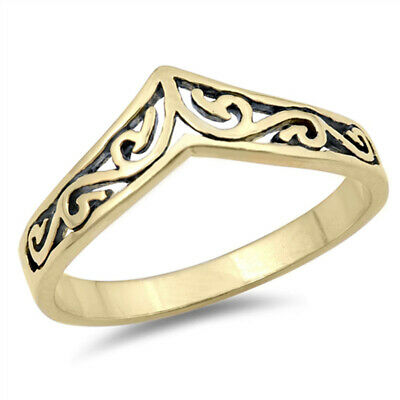 Yellow Gold-Tone Chevron Filigree Thumb Ring 925 Sterling Silver Band Sizes 3-10