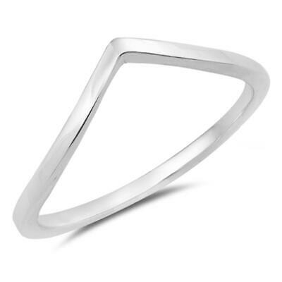Pointed Chevron Thumb Ring .925 Sterling Silver Thin Stackable Band Sizes 3-12