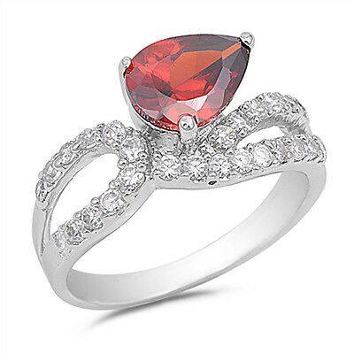 Garnet CZ Knot Criss-Cross Ring New .925 Sterling Silver Band Sizes 5-9
