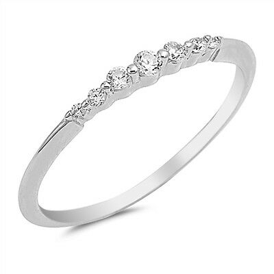 Thin Stackable Promise White CZ Ring 925 Sterling Silver Wedding Band Sizes 4-10
