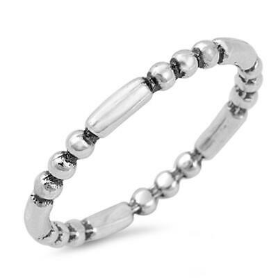 Eternity Ball Bar Ring New .925 Sterling Silver Band Sizes 4-10