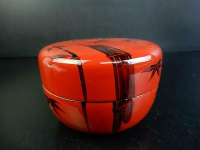 F8655: Japanese Wooden Lacquer ware TEA CADDY Natsume Chaire Container