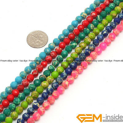 6mm Assorted Colors Sea Sediment Jasper Faceted Round Beads For Jewelry Making