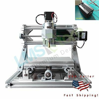 Mini 3-Axis CNC 1610 Engraver PCB PVC Milling Wood Carving Machine + 500mw Laser