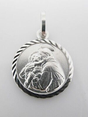 St Anthony Medal Pendant 925 Sterling Silver 14mm Round Catholic Communion Gifts