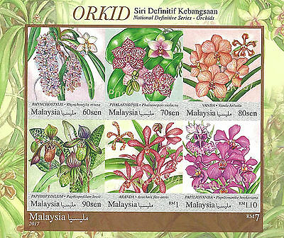Malaysia Stamp, 2017 MAL1704S Orchids S/S, Flower, Flora, Plant, Nature
