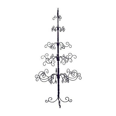 Christmas Tree Black 7 Foot Decorate Lights Ornaments Flowers Cards Wrought Iron