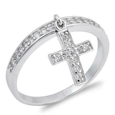 Sterling Silver Woman's Clear CZ Dangle Cross Ring Cute Band 12mm Sizes 4-10