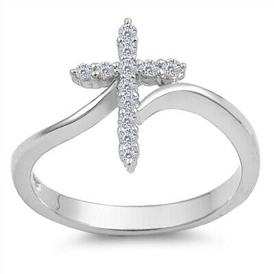 Sterling Silver Woman's Clear CZ Cross Ring Unique 925 Band 15mm New Sizes 3-13