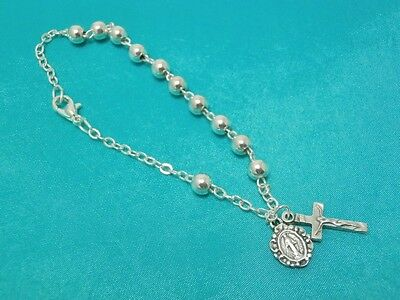 Rosary Bracelet Silver Plated Child Communion Confirmation Catholic Gifts 17cm