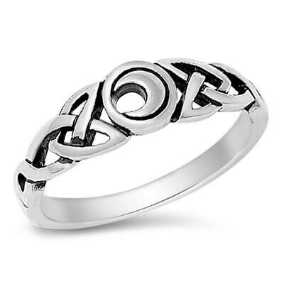Sterling Silver Woman's Celtic Moon Irish Ring Classic 925 Band 6mm Sizes 5-10