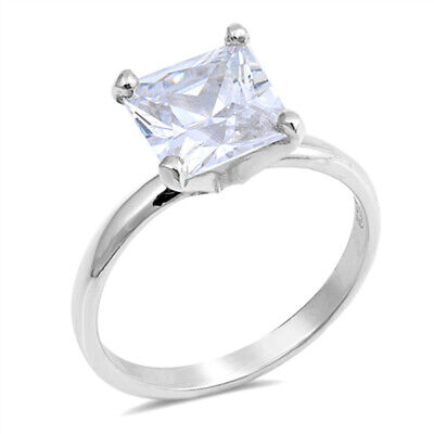 Square Olive CZ Solitaire Wedding Ring New .925 Sterling Silver Band Sizes 5-9