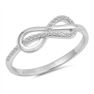 White CZ Infinity Knot Criss Cross Ring New .925 Sterling Silver Band Sizes 4-10