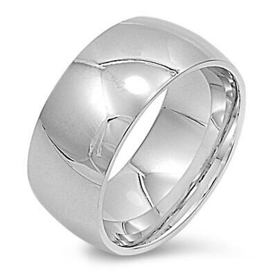 Stainless Steel Band Polished Plain Wedding Ring 316L Surgical 10mm Sizes 6-15