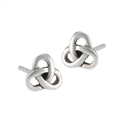 Celtic Knot Rounded Triquetra Loop .925 Sterling Silver Trinity Stud Earrings