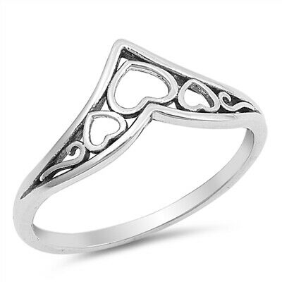 Filigree Chevron Heart Promise Ring Sterling Silver Celtic Thumb Band Sizes 4-12