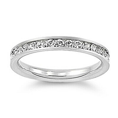 Woman's White CZ Ring Eternity Polished Stainless Steel Band New 3mm Sizes 3-10
