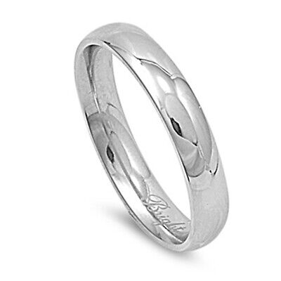 Stainless Steel Band Polished Plain Wedding Ring 316L Surgical 4mm Sizes 3-13