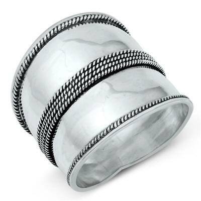 Sterling Silver Woman's Large Bali New Ring Wholesale 925 Band 22mm Sizes 5-12