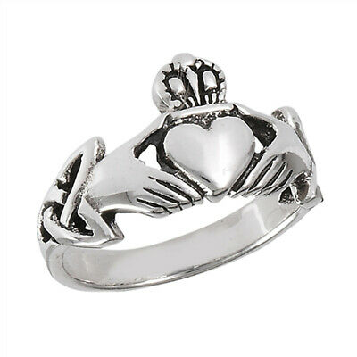Claddagh Heart Friendship Ring .925 Sterling Silver Irish Celtic Band Sizes 4-13